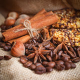 Composition of cinnamon, coffee beans, anise, hazelnuts a Stock Photography