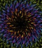 Composition circulaire des feuilles de résumé dans des couleurs d'arc-en-ciel illustration libre de droits