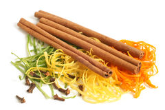 The composition of citron, cinnamon and cloves royalty free stock photo