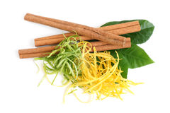 The composition of citron, cinnamon and lemon leaves Stock Image