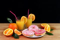 Composition with citrus and orange juice royalty free stock images