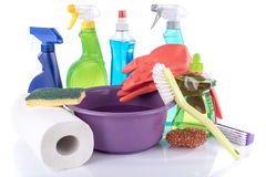 Composition of cleaning products and cleaning equipment Stock Photography