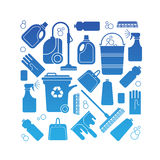 Composition with cleaning symbols Royalty Free Stock Images