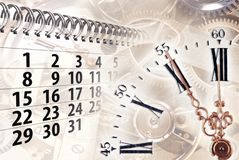 Time concept with clock and calendar. Composition of clock and calendar with gears in the background Stock Images