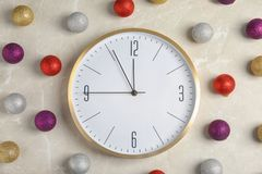 Composition with clock on light background. Christmas countdown Stock Image