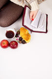 Composition close-up Bible and sweets Royalty Free Stock Images