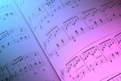 Composition Closeup. Musical notes with colour gradient overlay Royalty Free Stock Photography