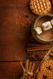 Composition of cocoa in cup with marshmallow, biscuit cookies, a Stock Photos