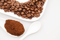 Composition with coffee cup, powder and beans Stock Photography