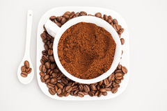 Composition with coffee cup, powder and beans Royalty Free Stock Photos