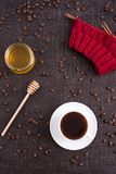 Composition with coffee, honey and knitting Royalty Free Stock Photos