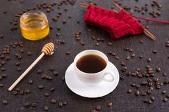Composition with coffee, honey and knitting Royalty Free Stock Photography