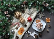 Composition of coffee with marshmallow, stars, fir tree. Winter flat lay royalty free stock photo