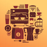 Composition with coffee silhouettes Stock Image