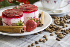 Composition of coffee and strawberry cakes Royalty Free Stock Photography