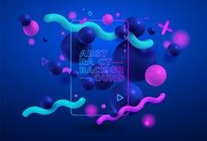Composition colorée abstraite avec les éléments géométriques de tendance, boules 3d moderne Illustrateur de vecteur Bleu et rose  illustration stock