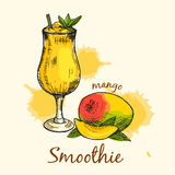 Composition colorée de smoothie de mangue Conception graphique Illustration de vecteur Images stock