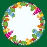 Composition colorée en cercle de ville illustration stock