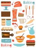 Composition colorée en icônes de cuisson Photographie stock libre de droits
