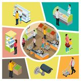 Composition colorée en supermarché isométrique illustration libre de droits