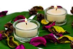 Composition colorée fraîche de deux bougies brûlantes, potp parfumé Image stock