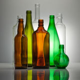 Composition from color glass bottles Royalty Free Stock Images