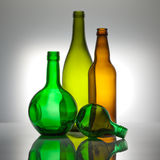 Composition from color glass bottles Royalty Free Stock Image