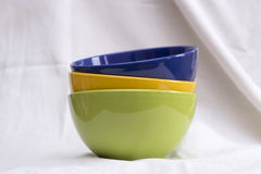 Composition with colored bowls Royalty Free Stock Images
