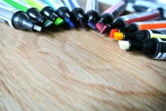 The colored markers. The composition of colored markers Royalty Free Stock Photos
