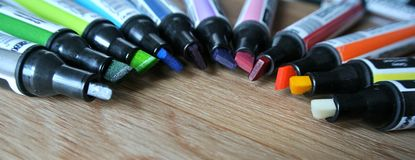 The colored markers. The composition of colored markers Stock Image