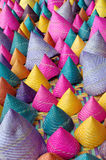 Composition of colorful conical woven bamboo Royalty Free Stock Photo