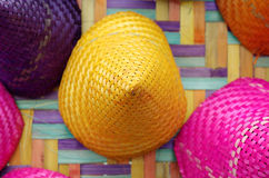 Composition of colorful conical woven bamboo Stock Photos