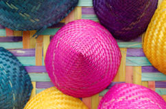 Composition of colorful conical woven bamboo Royalty Free Stock Photography