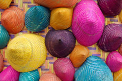 Composition of colorful conical woven bamboo Stock Images