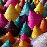 Composition of colorful conical woven bamboo Stock Image