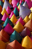 Composition of colorful conical woven bamboo Stock Photo