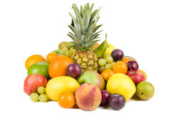 Composition of colorful fruits. Isolated on white stock image