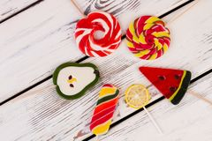 Composition with colorful lollipops, top view. stock photos