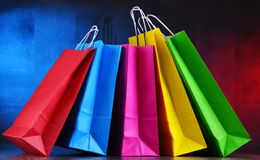 Composition with colorful paper shopping bags.  stock image