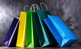 Composition with colorful paper shopping bags.  royalty free stock images