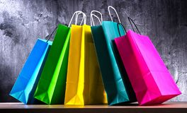 Composition with colorful paper shopping bags.  stock images