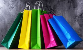 Composition with colorful paper shopping bags.  stock photos
