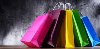 Composition with colorful paper shopping bags.  stock photo