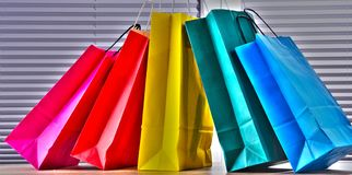 Composition with colorful paper shopping bags.  stock photography