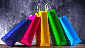 Composition with colorful paper shopping bags.  royalty free stock photos