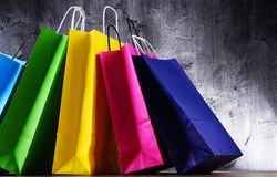 Composition with colorful paper shopping bags.  royalty free stock photography