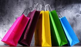 Composition with colorful paper shopping bags.  royalty free stock photo