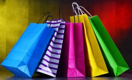 Composition with colorful paper shopping bags.  royalty free stock image