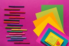 Composition of colorful papers and markers stock photo