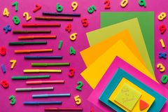 Composition of colorful papers and markers royalty free stock images